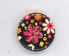 Holzknopf Maschinen waschbar rund 30mm Blumen schwarz