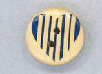 Holzknopf rund 20mm Herz Streifen blau