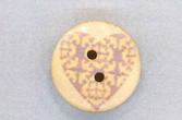 Holzknopf Maschinen waschbar rund 20mm Herz Ornament grau
