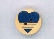 Holzknopf Maschinen waschbar rund 20mm Herz Querstreifen blau
