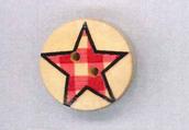 Holzknopf rund 20mm Stern kariert rot