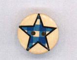Holzknopf Maschinen waschbar rund 20mm Stern kariert blau