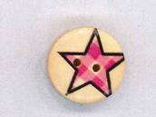 Holzknopf Maschinen waschbar rund 20mm Stern kariert rosa