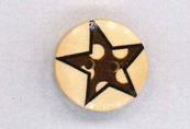 Holzknopf Maschinen waschbar rund 20mm Stern Punkte braun