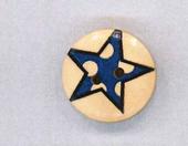 Holzknopf Maschinen waschbar rund 20mm Stern Punkte blau