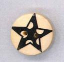 Holzknopf Maschinen waschbar rund 20mm Stern Punkte schwarz