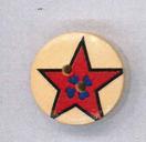 Holzknopf Maschinen waschbar rund 20mm Stern mit Herzen rot