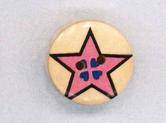 Holzknopf Maschinen waschbar rund 20mm Stern mit Herzen rosa 001