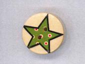 Holzknopf Maschinen waschbar rund 20mm Stern mit kleinen Punkten grün