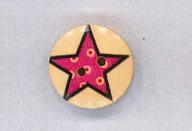 Holzknopf Maschinen waschbar rund 20mm Stern mit kleinen Punkten pink
