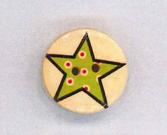 Holzknopf Maschinen waschbar rund 20mm Stern mit kleinen Punkten limette
