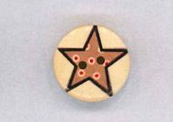 Holzknopf Maschinen waschbar rund 20mm Stern mit kleinen Punkten hellbraun