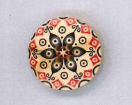 Holzknopf rund 25mm Mandala schwarz rot