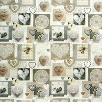 Baumwollstoff Digitaldruck Nostalgie Herzen beige 140cm 001