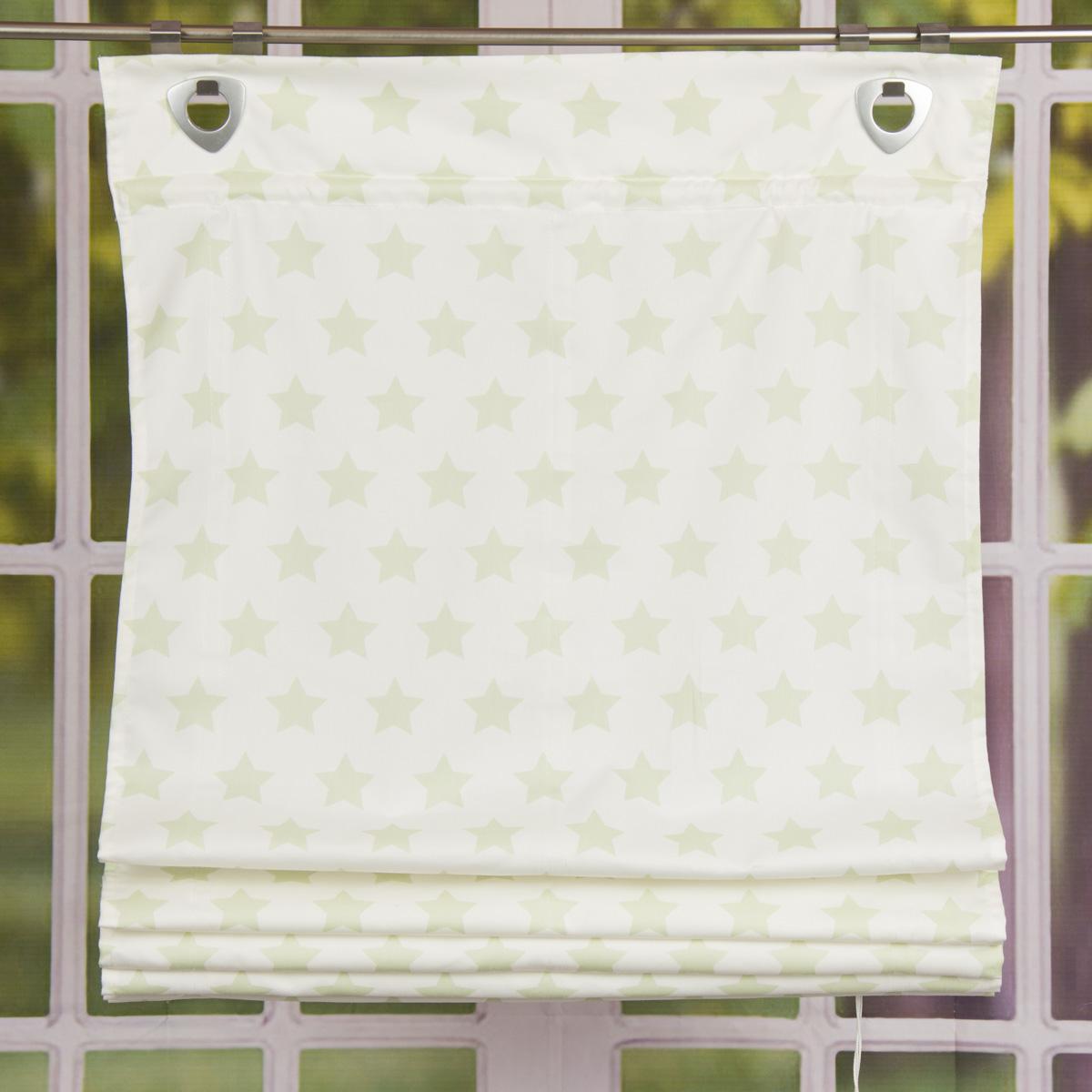 Raffrollo mit Fensterhaken Sterne hellgrün 100x140cm