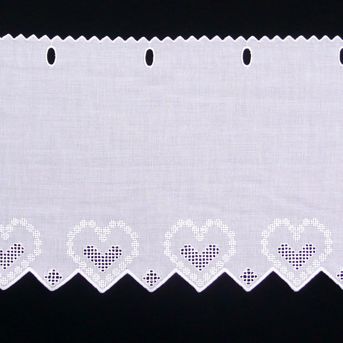 Scheibengardine Baumwolle Scheibengardine Baumwolle And: Scheibengardine Batist Mit Stickerei Weiß 27cm Hoch