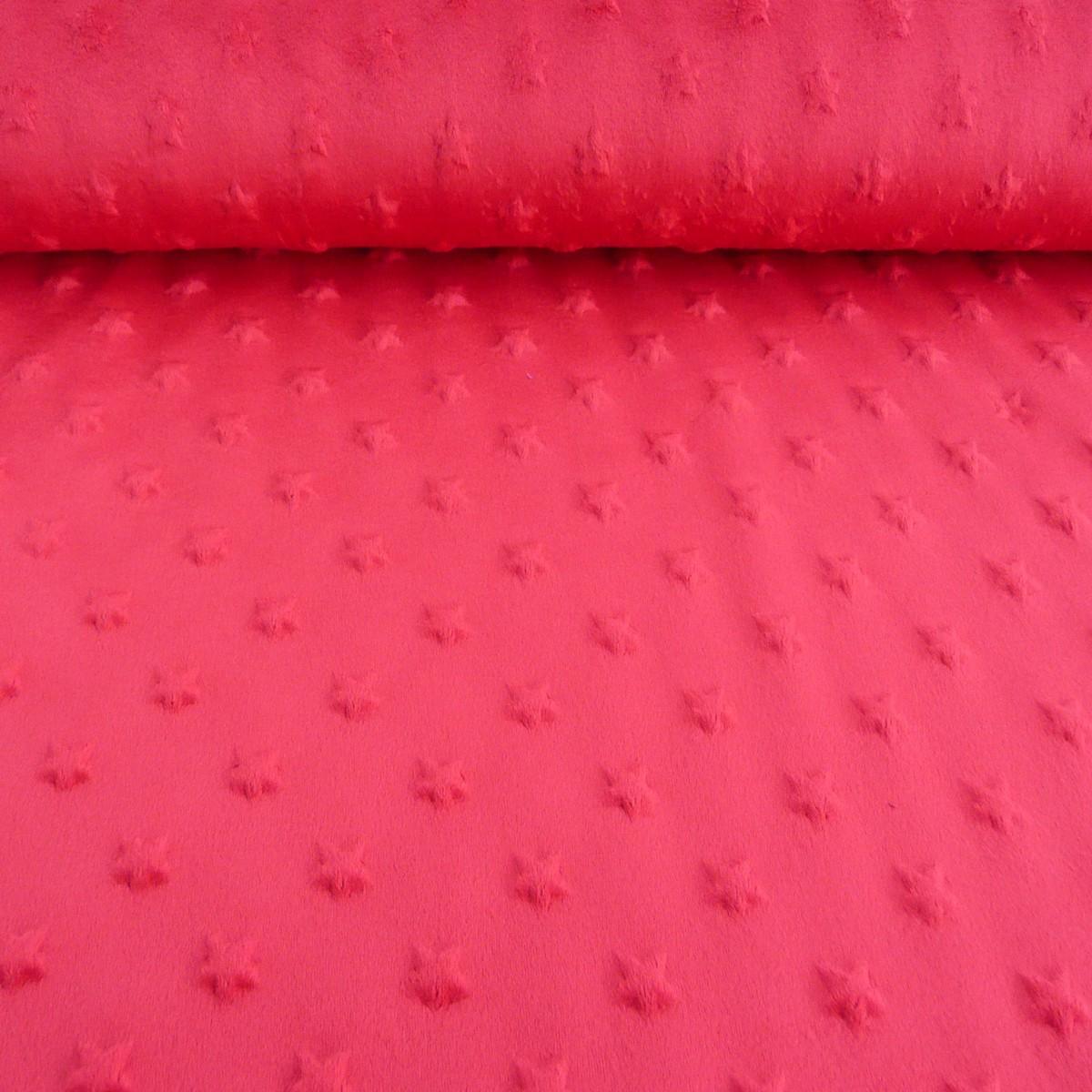 fleece minky stars sterne noppen rot flausch stoff fell pl sch stoffe stoffe uni fleece. Black Bedroom Furniture Sets. Home Design Ideas