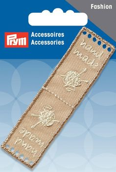 Prym Applikation Handmade Label beige 8x2cm
