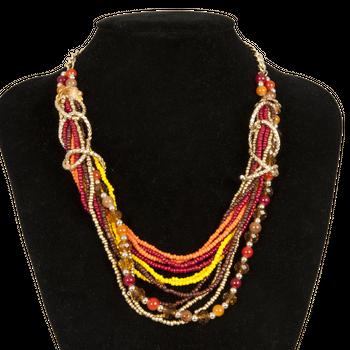Clayre & Eef Kette goldfarbig mit Perlen L: 26cm