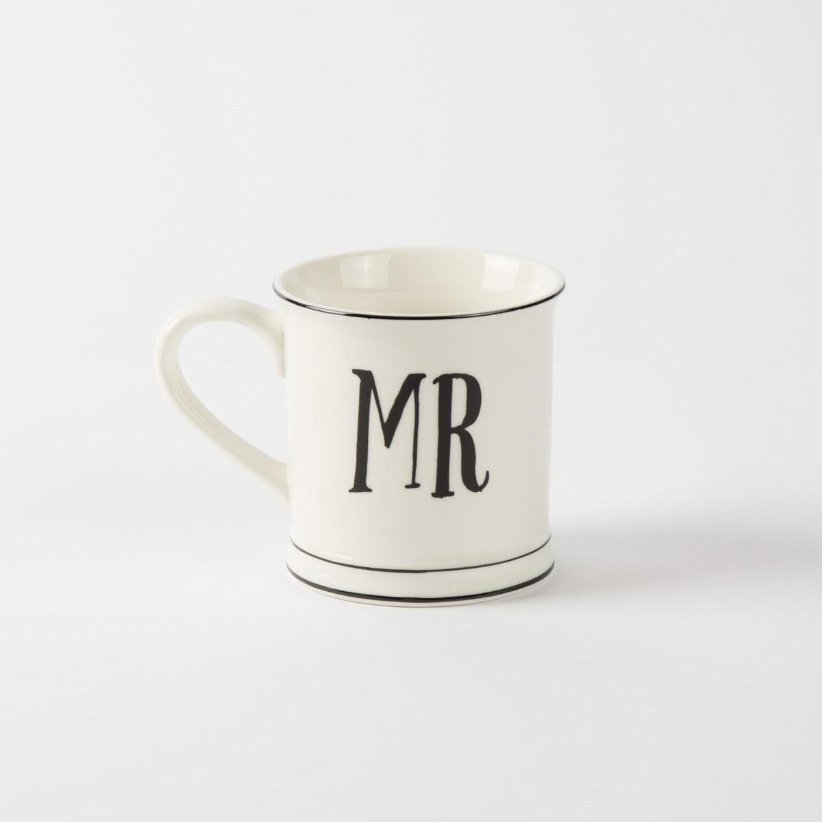 Tasse Porzellan weiß MRS oder MR 400ml