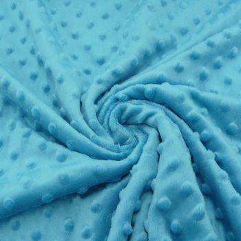 Fleece Minky dots Noppen aqua blau Kuschel Flausch – Bild 1