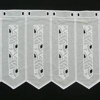 Bistrogardine Scheibengardine weiß mit Stickerei Muster Höhe: 50cm 001