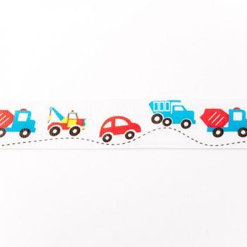Ripsband Fahrzeuge weiß blau rot Breite: 2,5cm