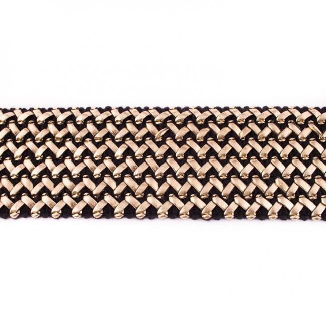 gummi band mit kunstleder schwarz gold meterware breite 5 5cm. Black Bedroom Furniture Sets. Home Design Ideas