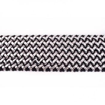 Gummi Band mit Kunstleder schwarz silber Meterware Breite: 5,5cm