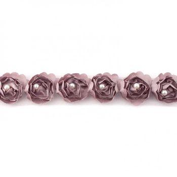 Rüschenband Tüll mit Perlen taupe Breite: 2cm