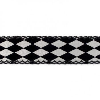 Dekoband Kunstleder Raute beflockt schwarz silber Breite: 3,5cm