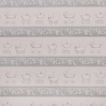 Clayre & Eef Geschenkpapier Kinderwagen Baby grau weiß 70x200cm
