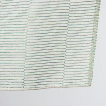 Fertiggardine Fertigvorhang Ösenschal mit Metallösen enge Streifen grün 145x245cm – Bild 4