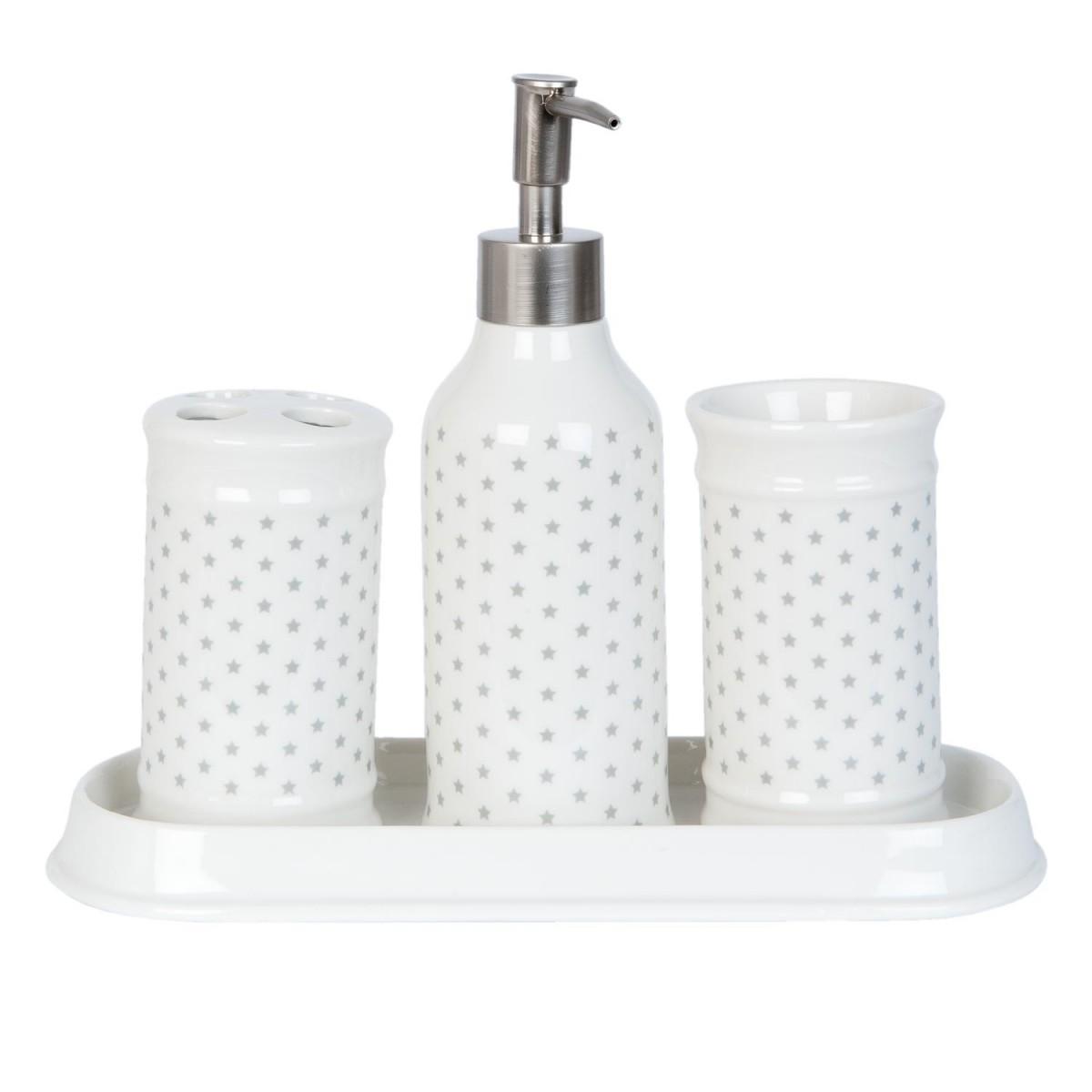 Clayre eef badezimmer set 4teilig wei grau sterne for Inspirationen badezimmer in grau