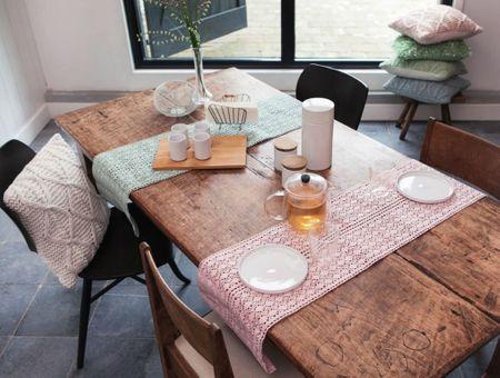 Tischläufer Mirthe Häkel weiß 30x140cm – Bild 3