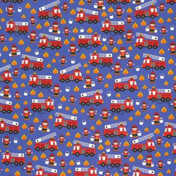 Dekostoff Feuerwehr Auto blau rot