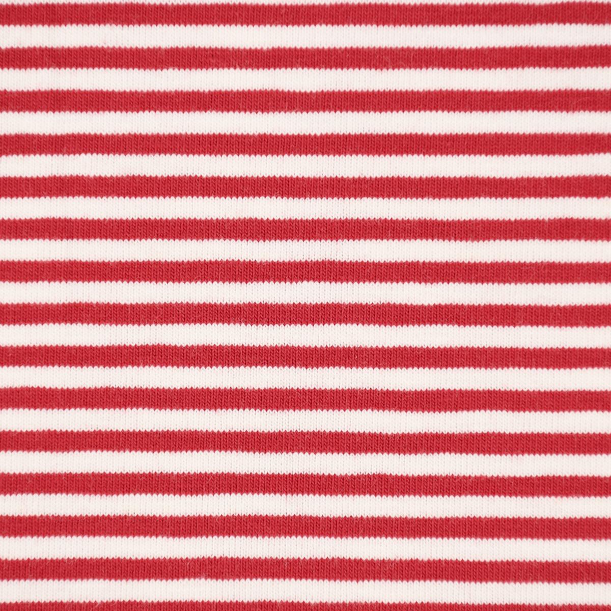 Jersey Stoff Streifen schmal 3mm rot weiß