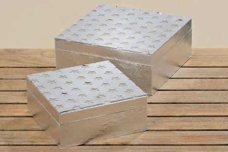 Box Alice Sterne grau groß 20x20cm