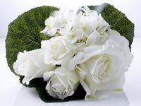 Kunststrauß Rosen Hortensien Strauß creme 25cm