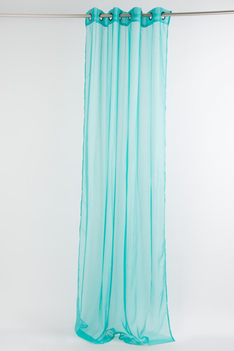 fertiggardine sengardine einfarbig voile t rkis 135x260cm fertiggardinen senschals. Black Bedroom Furniture Sets. Home Design Ideas