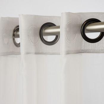 Fertiggardine Ösengardine einfarbig Voile grau 135x260cm