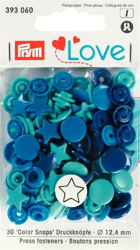 Prym Color Snaps Druckknöpfe Sterne Ø12,4mm blau türkis 30 Stück