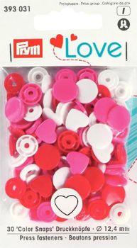 Prym Color Snaps Druckknöpfe Herz Ø12,4mm weiß rosa rot 30 Stück