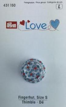 Prym Love Fingerhut Retro rot weiß blau Größe S