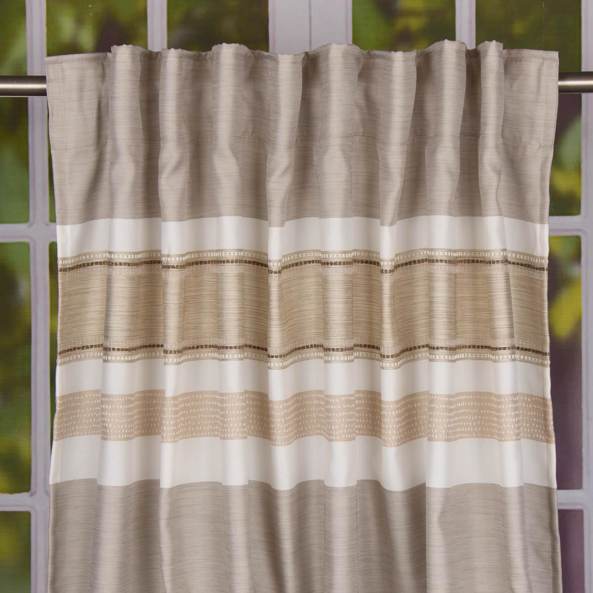 fertigvorhang mit band vorhang querstreifen creme braun 146x245cm gardinen fertiggardinen schals. Black Bedroom Furniture Sets. Home Design Ideas