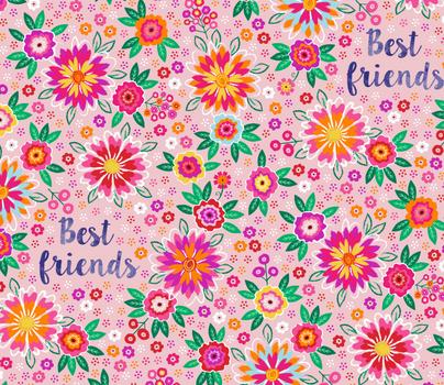 Geschenkpapier Bogen Best friends rosa Blumen 49x70cm Papier
