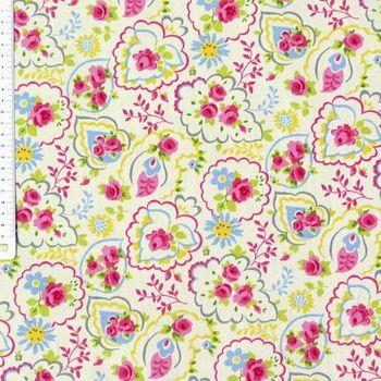 Clarke & Clarke Baumwollstoff Paisley Rose Chintz creme blau gelb rosa – Bild 2
