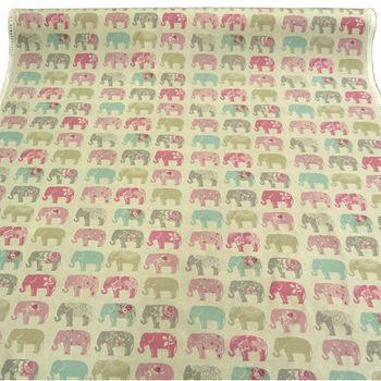 Clarke & Clarke Baumwollstoff Elefanten Pastell rosa türkis grau  – Bild 3