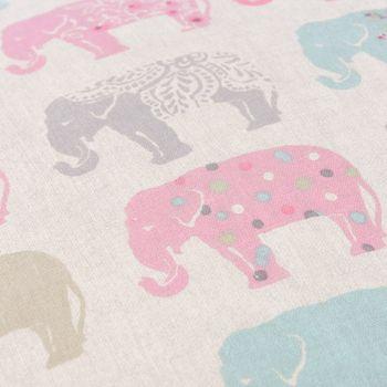 Clarke & Clarke Baumwollstoff Elefanten Pastell rosa türkis grau  – Bild 5
