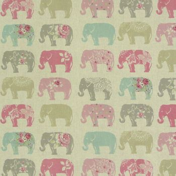 Clarke & Clarke Baumwollstoff Elefanten Pastell rosa türkis grau  – Bild 1